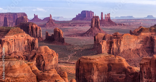 Fototapeta Sunrise in Hunts Mesa navajo tribal majesty place near Monument Valley, Arizona,