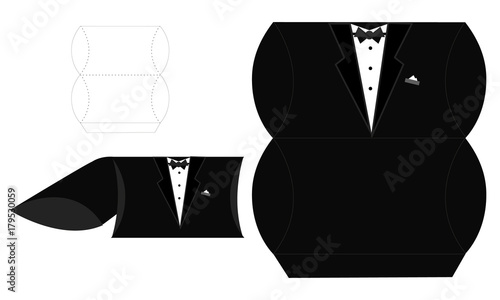Groom candy die box vector diy box template tuxedo pillow blueprint paper template by alona syplyak groom candy die box vector diy box template tuxedo pillow wedding favor box malvernweather Image collections