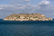 Overview of Spinalonga Island the historic leper colony and Venetian fortress. Lasithi, Crete Greece. October 2017