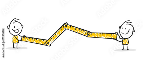 Strichfiguren / Strichmännchen: Messlatte, Zollstock, Entfernung, Länge Fototapete