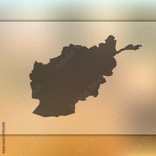 Afghanistan map. Blurred background with silhouette of ...