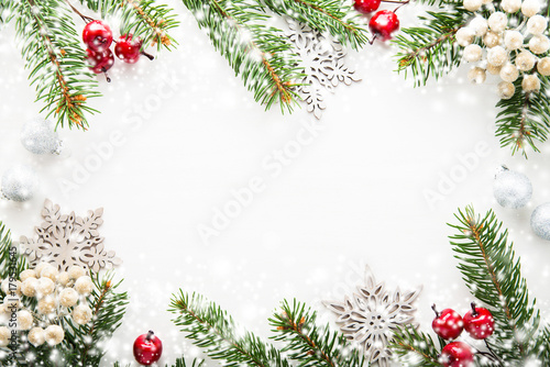 Merry Christmas Background.Christmas Background With Xmas Tree Berries On White Wooden