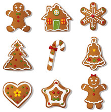 Gingerbread Cookies Icon Set