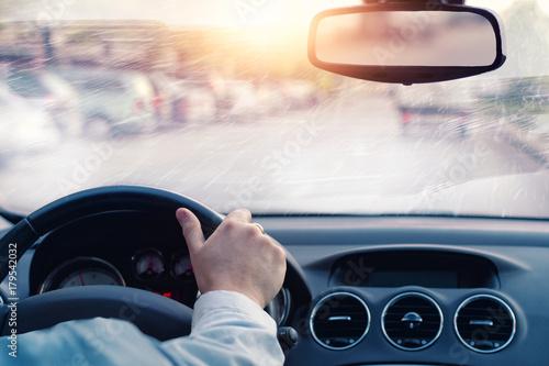Zdjęcie XXL słaba widoczność na drodze w zimowy dzień