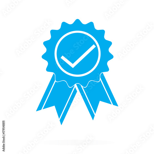 Photo approved or certified medal icon on white background