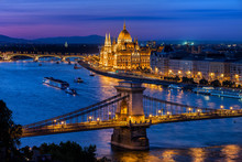 Blue Hour In City Of Budapest ...