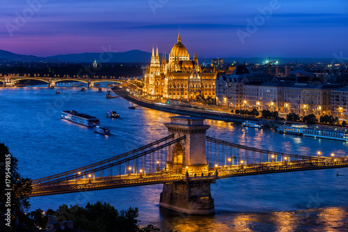 Blue Hour in City of Budapest with Chain Bridge and Hungarian Parliament