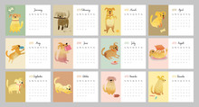 Calendar 2018. Cute Monthly Ca...