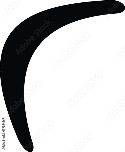 A black and white silhouette of a boomerang Canvas Print