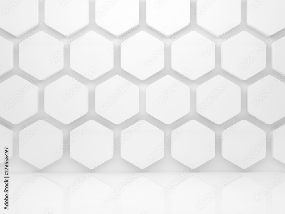 Abstract white interior with honeycomb. 3d