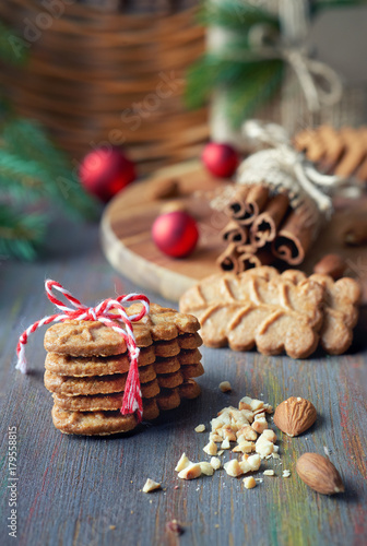Sloseup On Almond Cookies With Cinnamon Sticks Clovers Almonds And