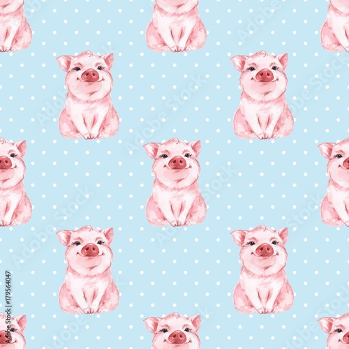 Stoffe zum Nähen Nahtlose Muster mit Schwein. Blauer Hintergrund. Polka dot