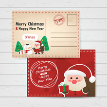 Merry Christmas And Happy New Year With Ciute Santa Claus Poscard Template Design, Mail Template Design