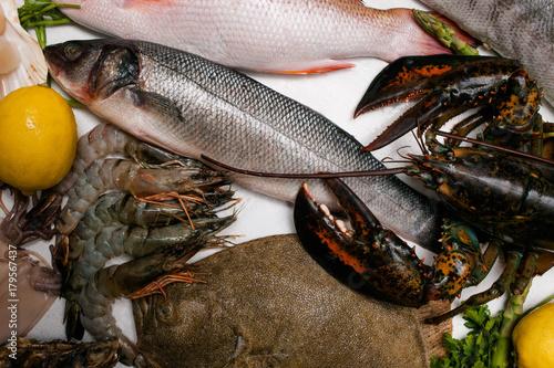 Fotografie, Obraz  Delicious restaurant market seafood assortment concept