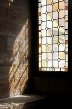 Sunshine Through Colorful Stain Window At Palais Des Papes
