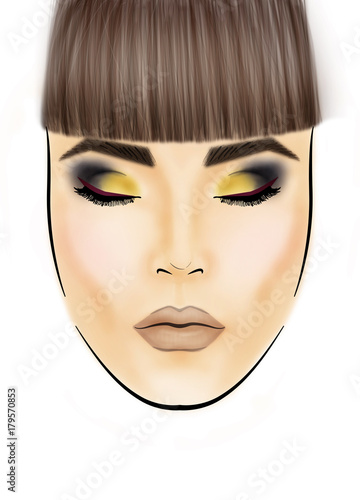 Face chart Makeup Artist Blank. Template. - Buy this stock ...