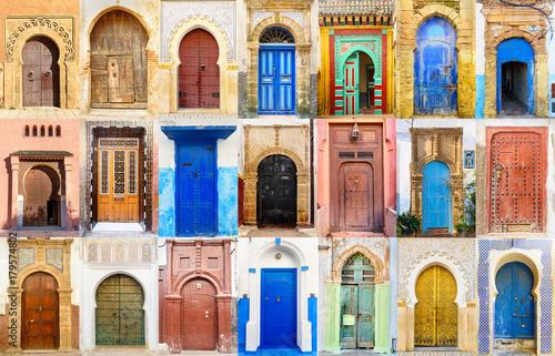 Fényképezés  Collage of Moroccan entry door