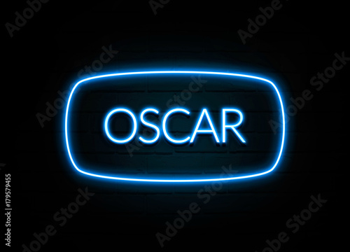 Fotografie, Obraz  Oscar  - colorful Neon Sign on brickwall