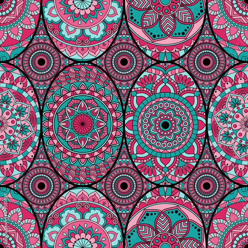 Cotton fabric Seamless pattern tile with mandalas. Vintage decorative elements. Hand drawn background. Islam, Arabic, Indian, ottoman motifs. Perfect for printing on fabric or paper.