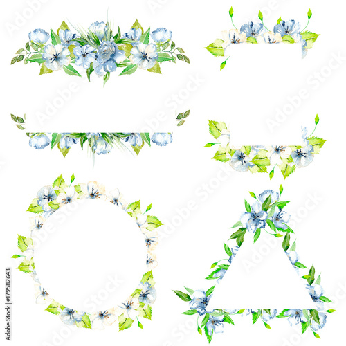 Set Of Frame Borders With Simple Watercolor Blue Wildflowers And Green Fresh Leaves Hand Painted On A White Background Template Floral Design For Wedding Cards Buy This Stock Illustration And Explore,Interior Bedroom Designs Indian Style