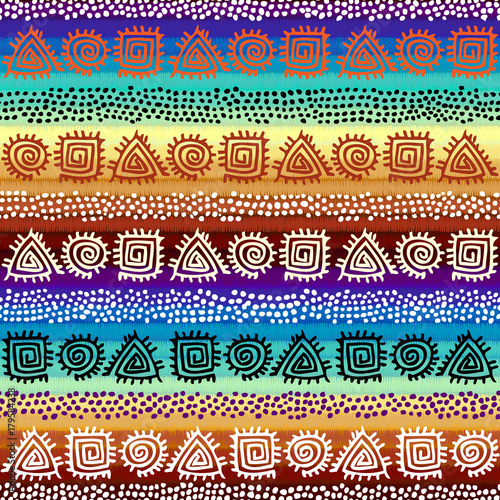 Fotografia  Ethnic boho seamless pattern in african style on colorful gradient background