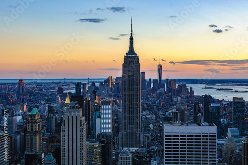 Foto op Canvas New York Special lights at sunset in NYC, USA