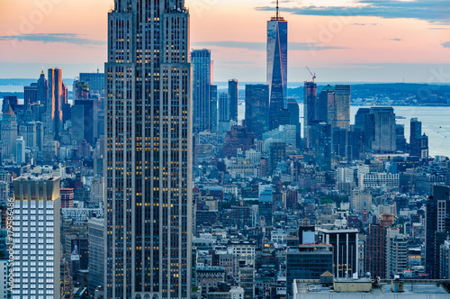 Fotografie, Obraz  Special lights at sunset in NYC, USA