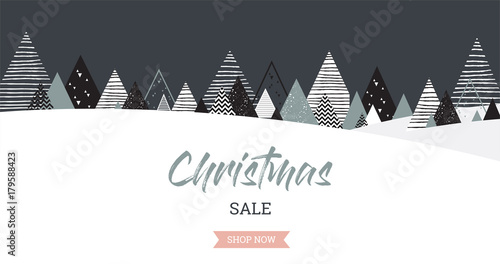 Garden Poster White Christmas winter landscape background. christmas sale. Abstract Vector