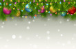 Christmas background with fir tree branches, color balls, and light bulbs