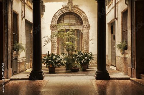 Atrium in old building in Verona city, Italy Canvas Print