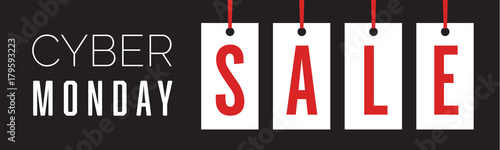 Fotografía  Cyber Monday Hang Tag Holiday Sale Banner Vector Illustration 2
