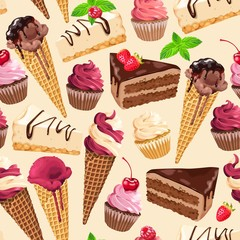 Fototapeta Seamless pattern with sweets