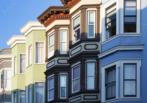 Row Of Colorful Buildings With Bay Windows Architecture In San Francisco California