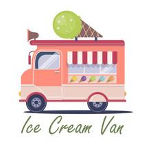 Flat Ice Cream Van Illustration