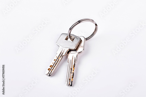 Cuadros en Lienzo Doors keys isolated on white background