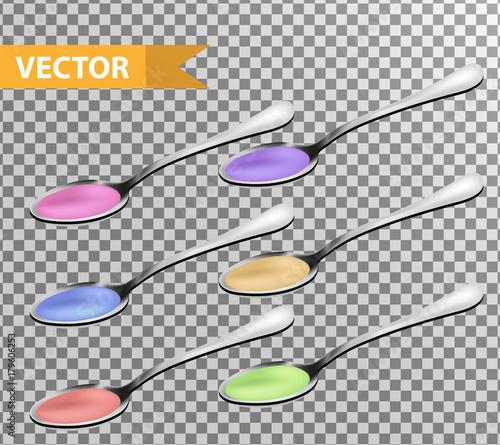 Valokuva  Realistic Metallic teaspoon with liquid, syrup set