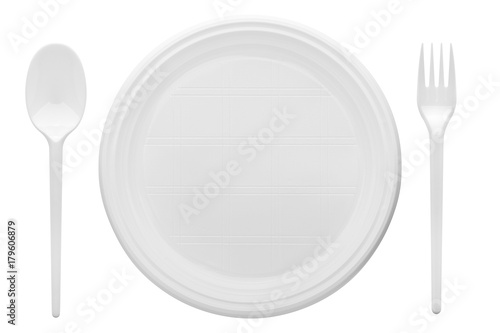 Disposable white plastic plate, spoon, fork, clipping path, isolated on white background