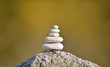 Balanced several white stones on blurred beautiful background