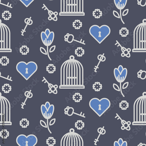 Fényképezés  Bird cage romantic seamless vector pattern