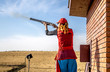 canvas print picture - Sports shooting with a gun - Sport shooting with a gun girl