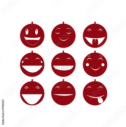 set di emoticons palline di natale risate e allegria Fototapet