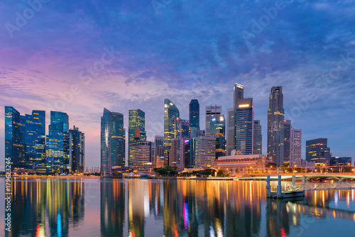 Photo  Business and financial center of Singapore, Marina bay, Bayfront