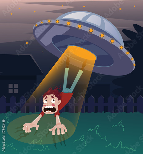 Frightened screaming man character abducted by aliens Canvas Print