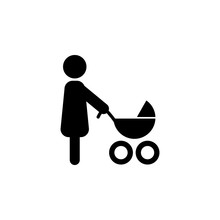 Mother With Stroller Icon In A...