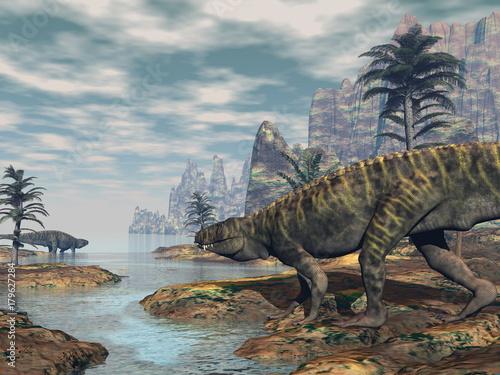 Batrachotomus dinosaurs -3D render Canvas Print