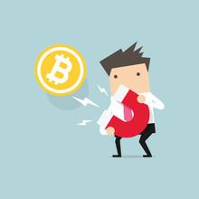 Businessman Attracting Bitcoin...