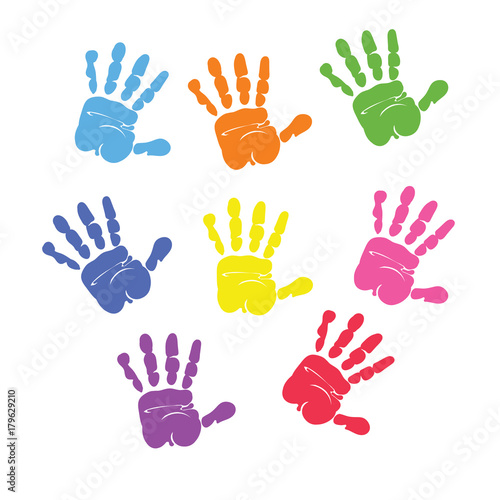 Obraz na plátně  Set of colorful hand prints isolated on white background. vector