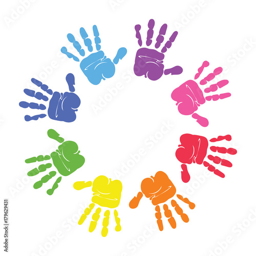 Fotografie, Obraz  Circle spiral of colorful hand prints made by children isolated on white background