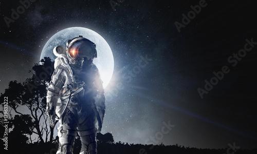 Foto op Canvas UFO Spaceman in astronaut suit. Mixed media