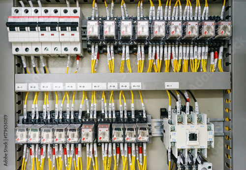 Electical distribution fuseboard. Electrical supplies. Electrical panel at  a assembly line factory. Controls and switches. Electricity distribution box.  Fusebox. - Buy this stock photo and explore similar images at Adobe Stock |Adobe Stock